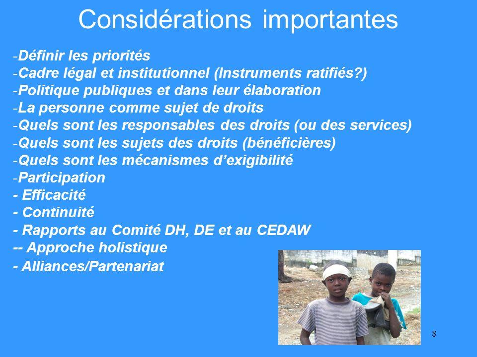 8 Considérations importantes -Définir les priorités -Cadre légal et institutionnel (Instruments ratifiés ) -Politique publiques et dans leur élaboration -La personne comme sujet de droits -Quels sont les responsables des droits (ou des services) -Quels sont les sujets des droits (bénéficières) -Quels sont les mécanismes dexigibilité -Participation - Efficacité - Continuité - Rapports au Comité DH, DE et au CEDAW -- Approche holistique - Alliances/Partenariat