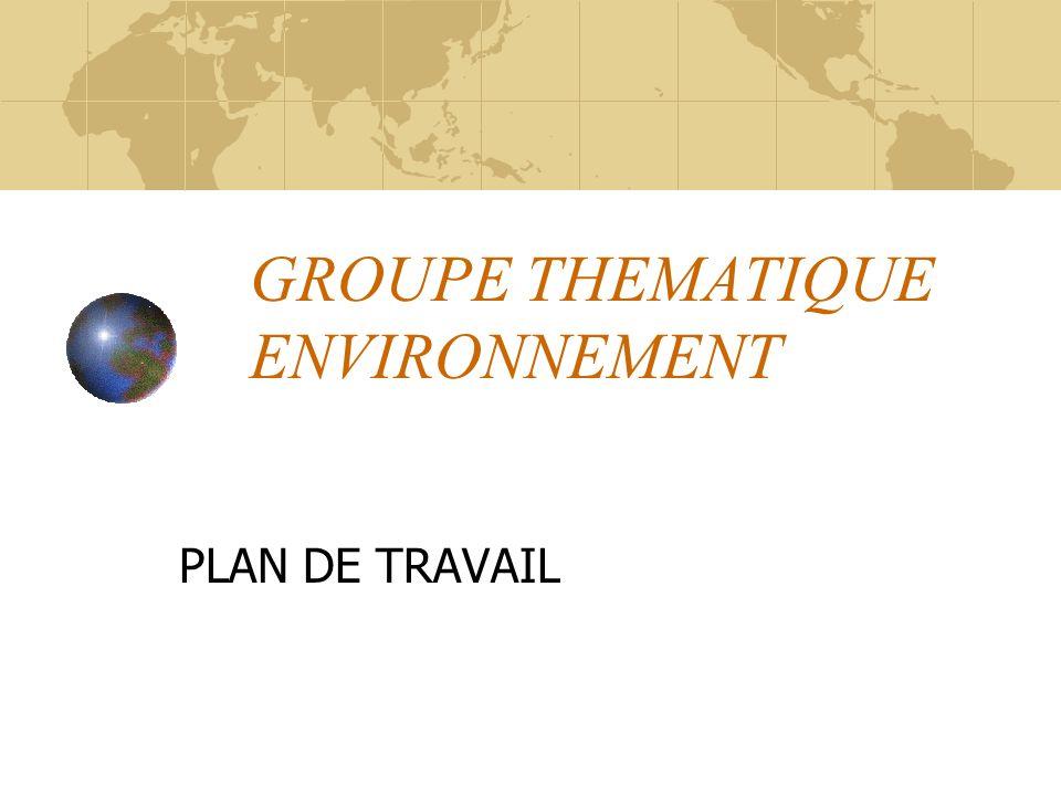 GROUPE THEMATIQUE ENVIRONNEMENT PLAN DE TRAVAIL