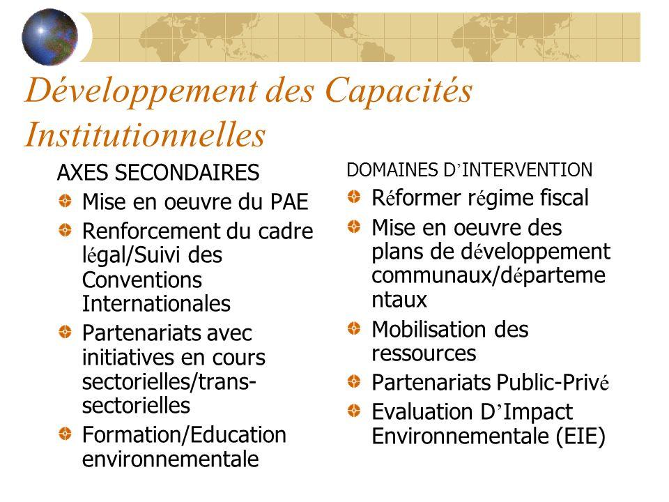 Développement des Capacités Institutionnelles AXES SECONDAIRES Mise en oeuvre du PAE Renforcement du cadre l é gal/Suivi des Conventions International