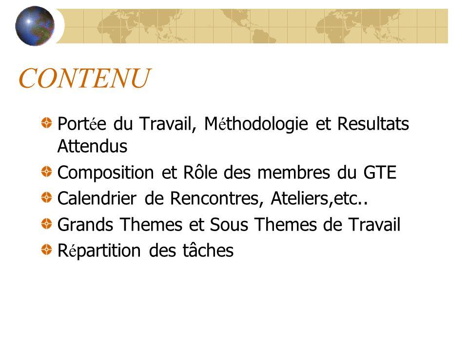 CONTENU Port é e du Travail, M é thodologie et Resultats Attendus Composition et Rôle des membres du GTE Calendrier de Rencontres, Ateliers,etc.. Gran
