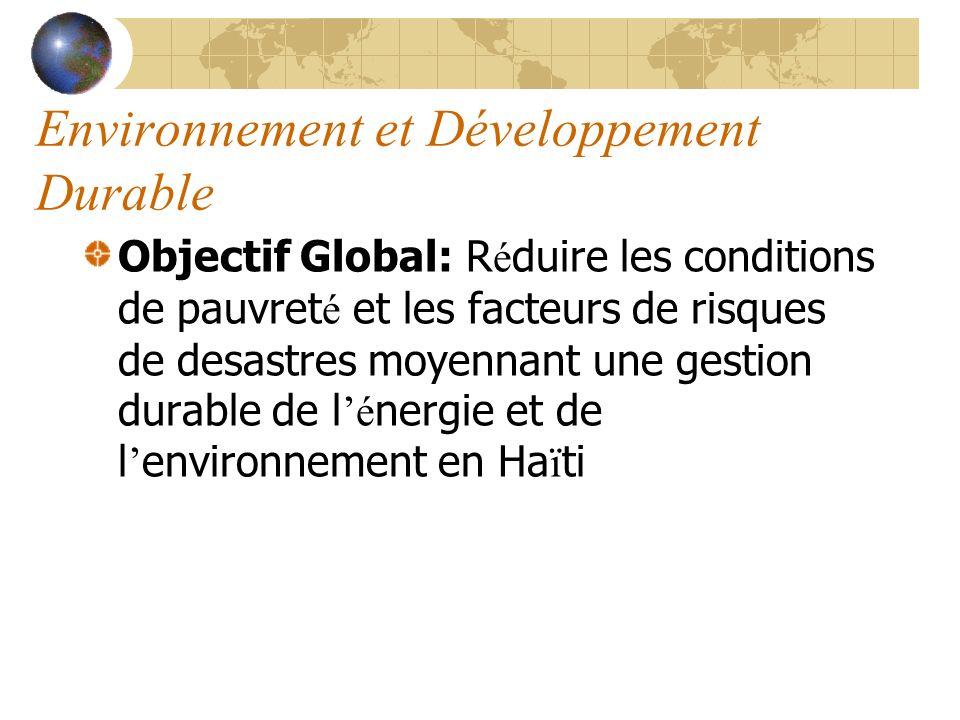 Environnement et Développement Durable Objectif Global: R é duire les conditions de pauvret é et les facteurs de risques de desastres moyennant une gestion durable de l é nergie et de l environnement en Ha ï ti