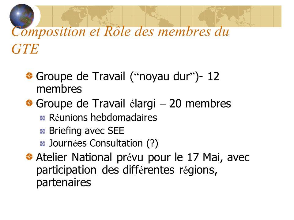 Composition et Rôle des membres du GTE Groupe de Travail ( noyau dur )- 12 membres Groupe de Travail é largi – 20 membres R é unions hebdomadaires Bri