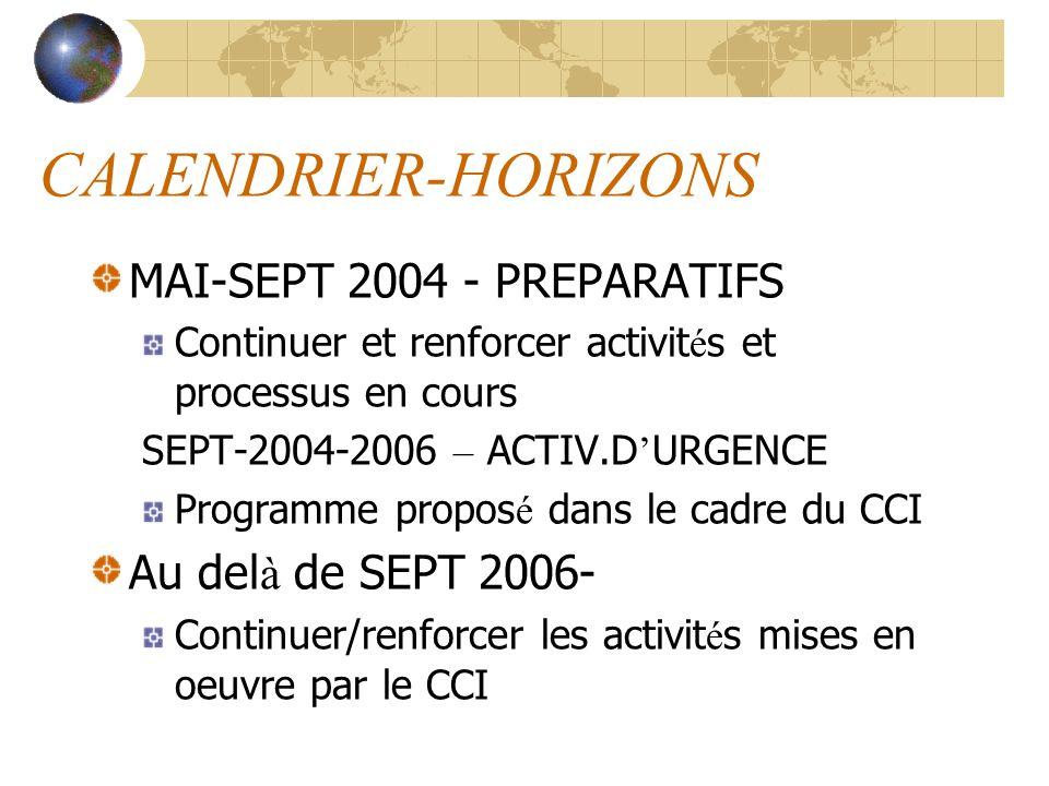 CALENDRIER-HORIZONS MAI-SEPT 2004 - PREPARATIFS Continuer et renforcer activit é s et processus en cours SEPT-2004-2006 – ACTIV.D URGENCE Programme pr