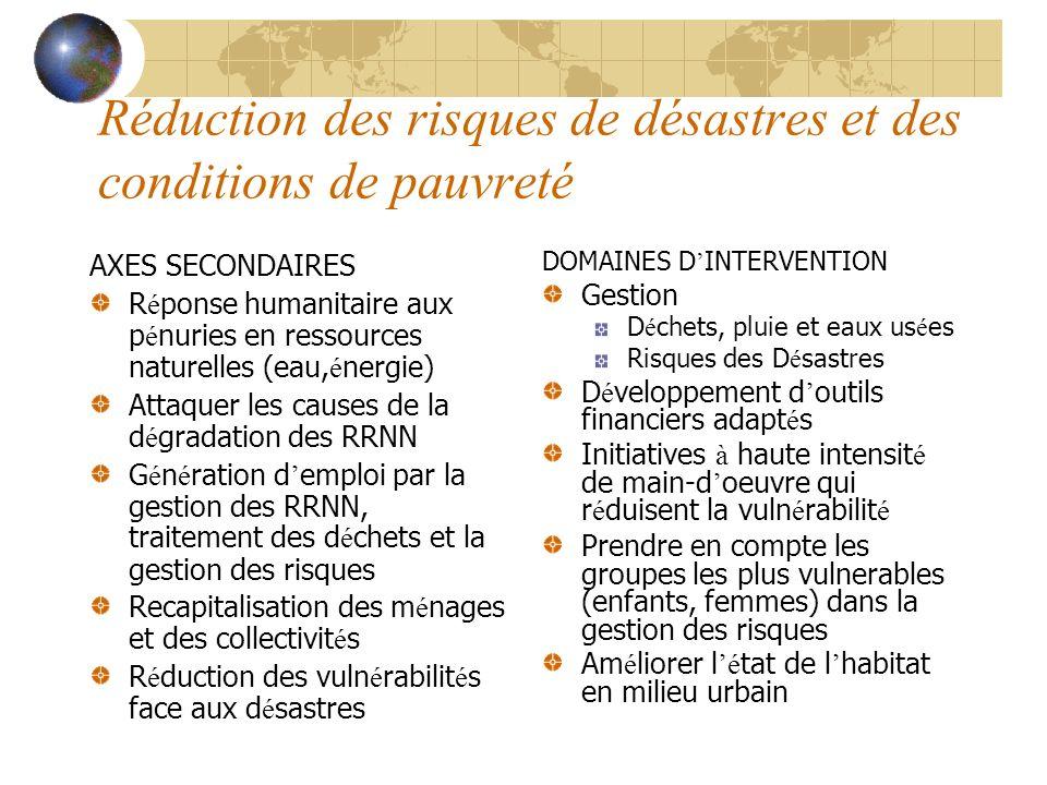 Réduction des risques de désastres et des conditions de pauvreté AXES SECONDAIRES R é ponse humanitaire aux p é nuries en ressources naturelles (eau,