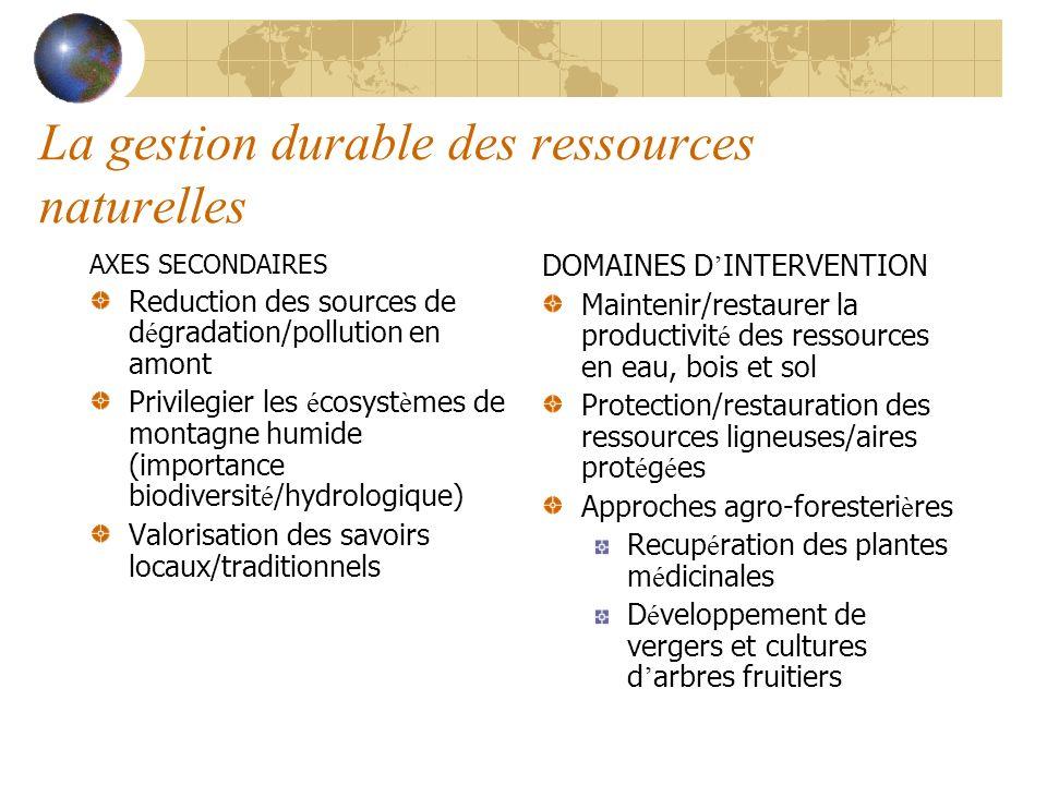 La gestion durable des ressources naturelles AXES SECONDAIRES Reduction des sources de d é gradation/pollution en amont Privilegier les é cosyst è mes