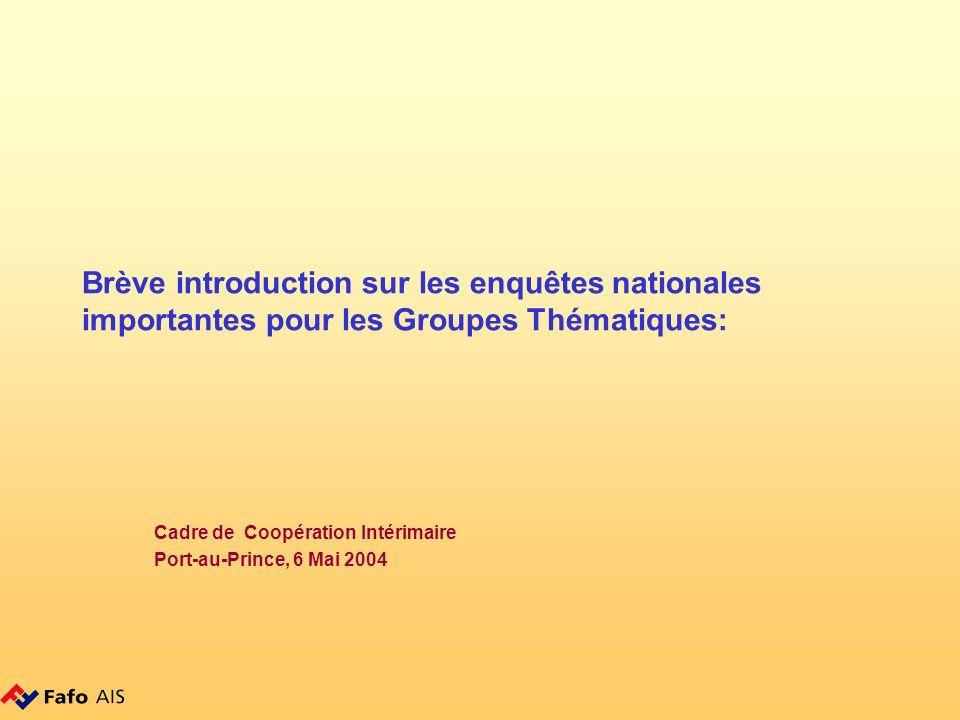 Brève introduction sur les enquêtes nationales importantes pour les Groupes Thématiques: Cadre de Coopération Intérimaire Port-au-Prince, 6 Mai 2004