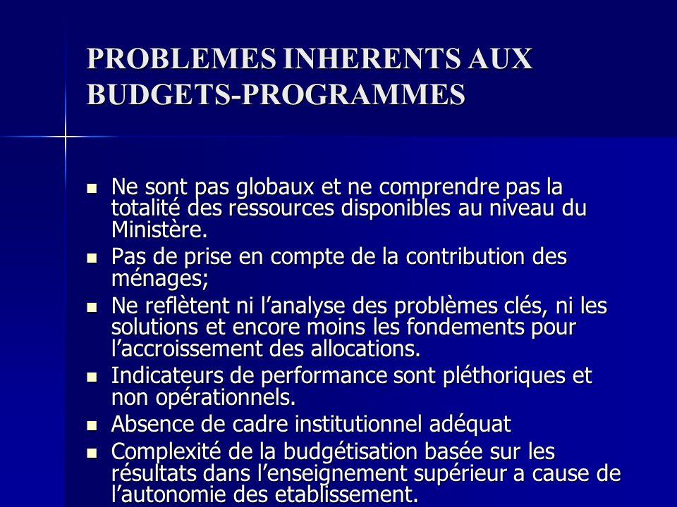 PROBLEMES INHERENTS AUX BUDGETS-PROGRAMMES Ne sont pas globaux et ne comprendre pas la totalité des ressources disponibles au niveau du Ministère. Ne