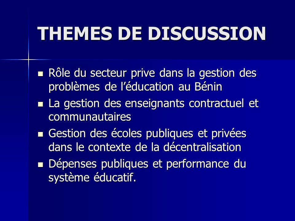 THEMES DE DISCUSSION Rôle du secteur prive dans la gestion des problèmes de léducation au Bénin Rôle du secteur prive dans la gestion des problèmes de