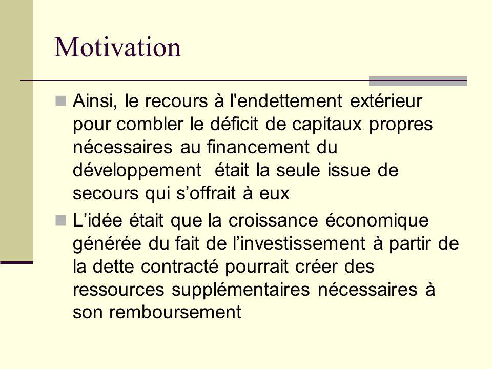 Motivation Ainsi, le recours à l'endettement extérieur pour combler le déficit de capitaux propres nécessaires au financement du développement était l