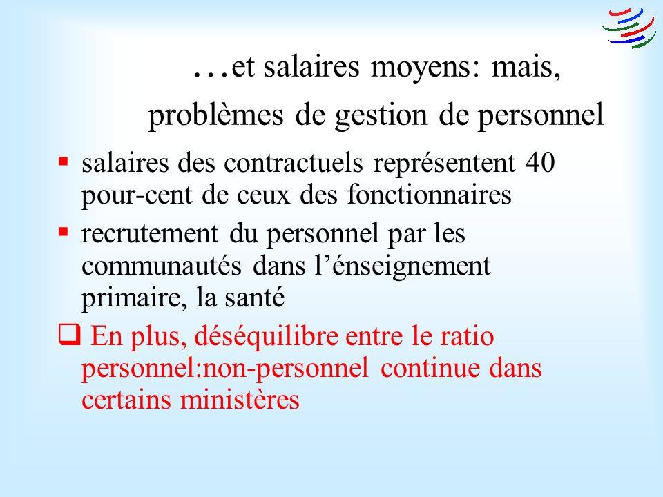 … et salaires moyens: mais, problèmes de gestion de personnel salaires des contractuels représentent 40 pour-cent de ceux des fonctionnaires recrutement du personnel par les communautés dans lénseignement primaire, la santé En plus, déséquilibre entre le ratio personnel:non-personnel continue dans certains ministères