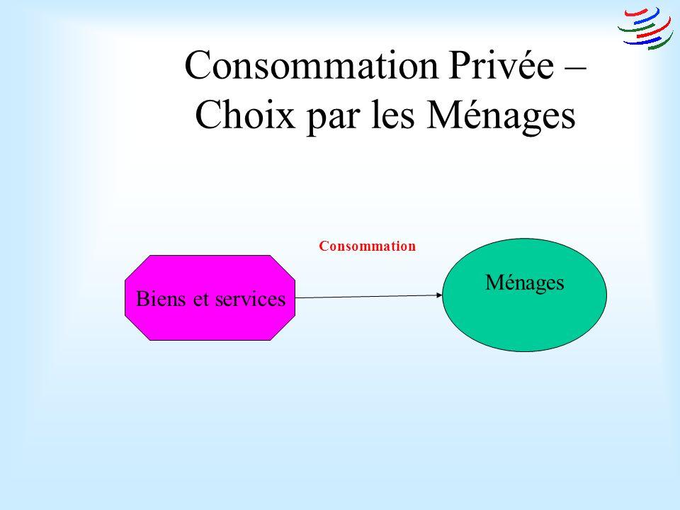 Consommation Privée – Choix par les Ménages Ménages Biens et services Consommation