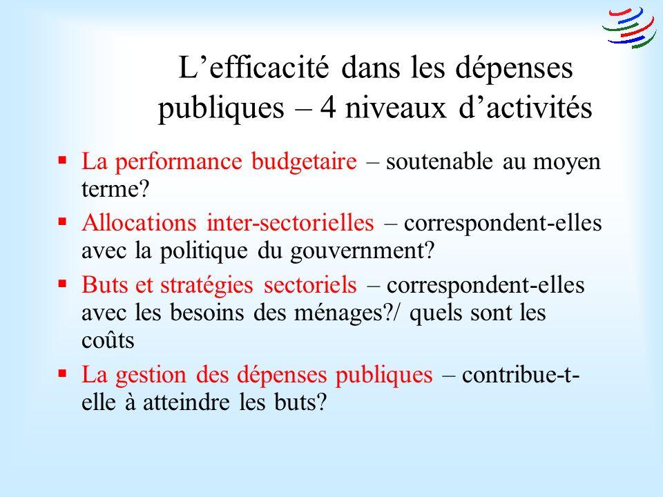 Lefficacité dans les dépenses publiques – 4 niveaux dactivités La performance budgetaire – soutenable au moyen terme.