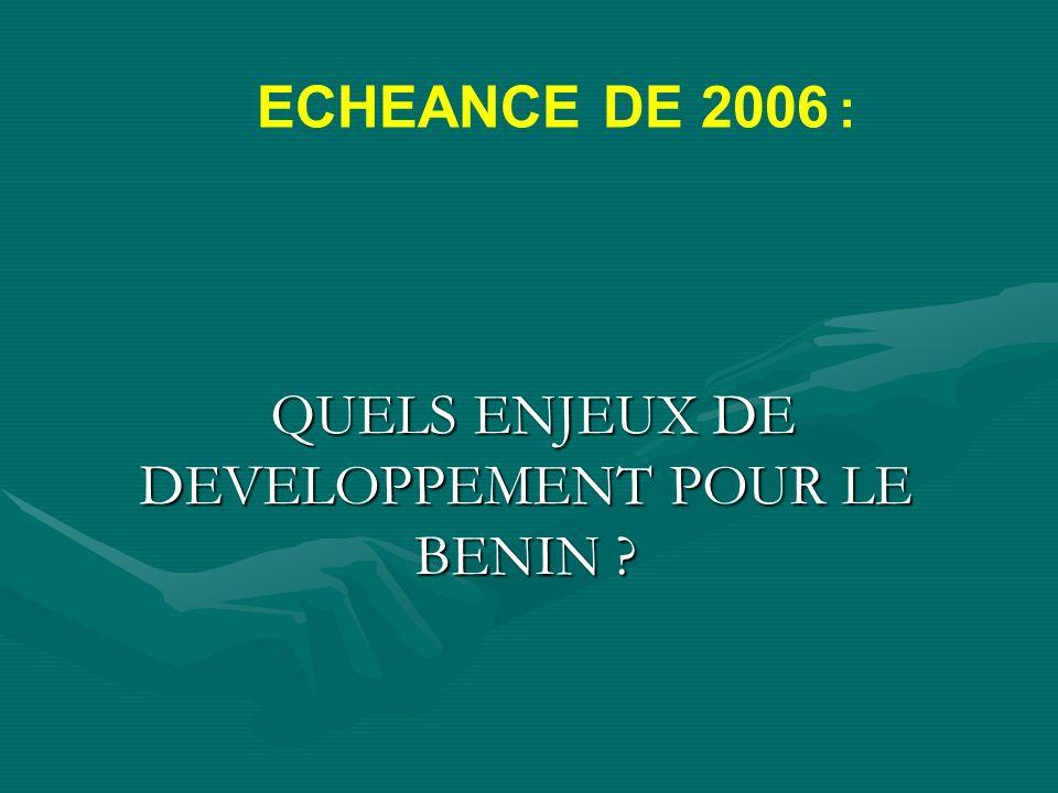 Quelques propositions 1- Adopter un document de stratégie de développement du Bénin pour la période 2006- 2015 qui sinspire du scénario Alafia et qui sera décliné en un plan quinquennal pour la période 2006-2011; 2- Faire voter une loi dorientation foncière permettant de réglementer le marché foncier et de protéger les ressources naturelles.