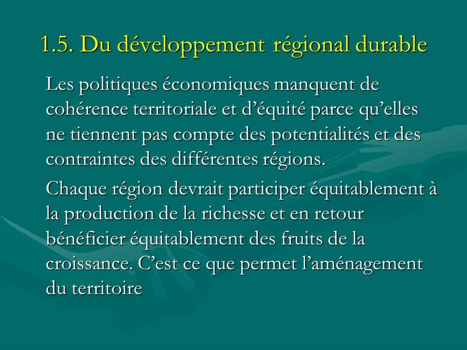 1.5. Du développement régional durable Les politiques économiques manquent de cohérence territoriale et déquité parce quelles ne tiennent pas compte d
