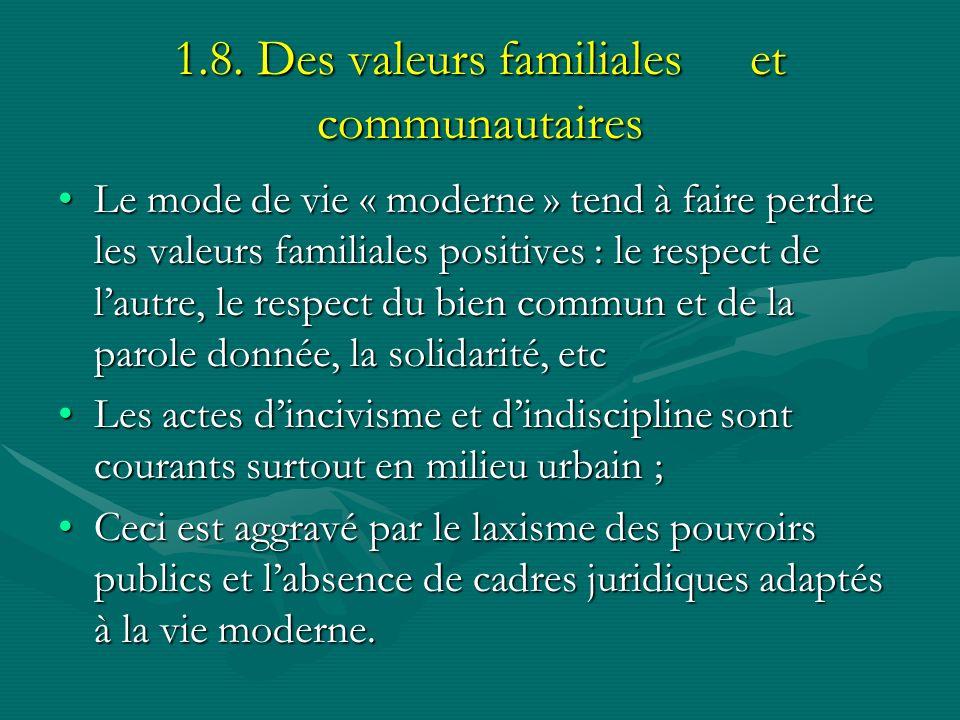 1.8. Des valeurs familiales et communautaires Le mode de vie « moderne » tend à faire perdre les valeurs familiales positives : le respect de lautre,