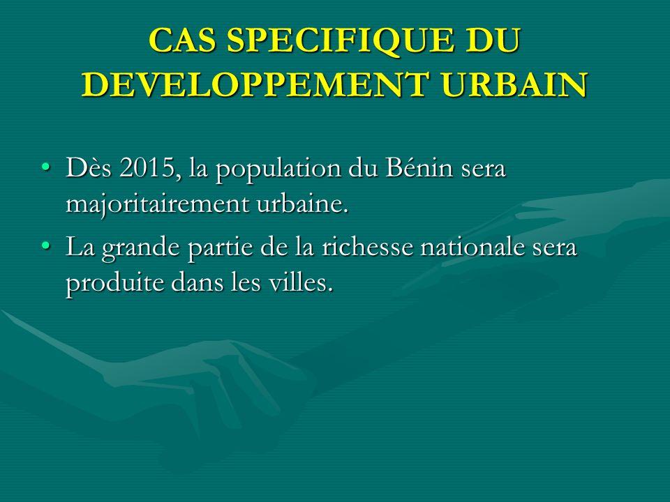 CAS SPECIFIQUE DU DEVELOPPEMENT URBAIN Dès 2015, la population du Bénin sera majoritairement urbaine.Dès 2015, la population du Bénin sera majoritairement urbaine.