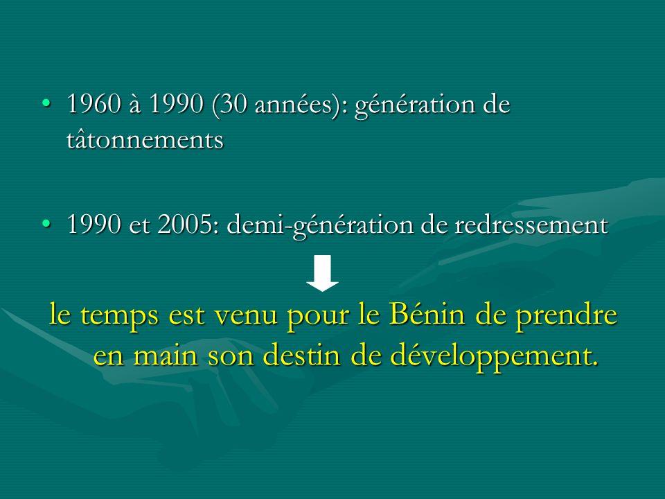 1960 à 1990 (30 années): génération de tâtonnements1960 à 1990 (30 années): génération de tâtonnements 1990 et 2005: demi-génération de redressement1990 et 2005: demi-génération de redressement le temps est venu pour le Bénin de prendre en main son destin de développement.