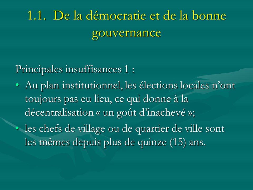 1.1. De la démocratie et de la bonne gouvernance Principales insuffisances 1 : Au plan institutionnel, les élections locales nont toujours pas eu lieu
