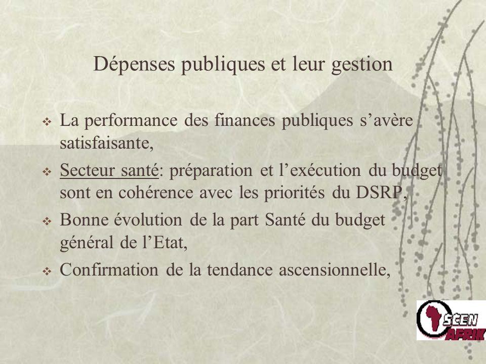 Dépenses publiques et leur gestion La performance des finances publiques savère satisfaisante, Secteur santé: préparation et lexécution du budget sont