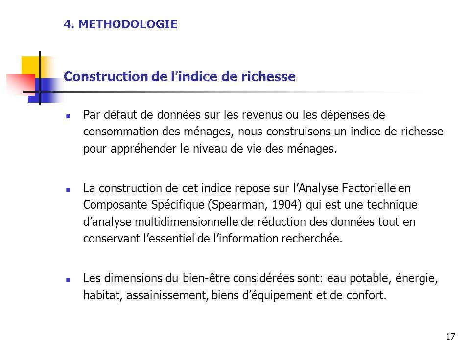 4. METHODOLOGIE Construction de lindice de richesse Par défaut de données sur les revenus ou les dépenses de consommation des ménages, nous construiso