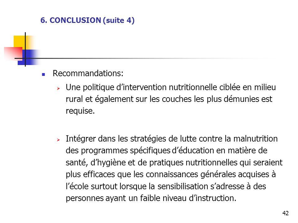 42 Recommandations: Une politique dintervention nutritionnelle ciblée en milieu rural et également sur les couches les plus démunies est requise. Inté