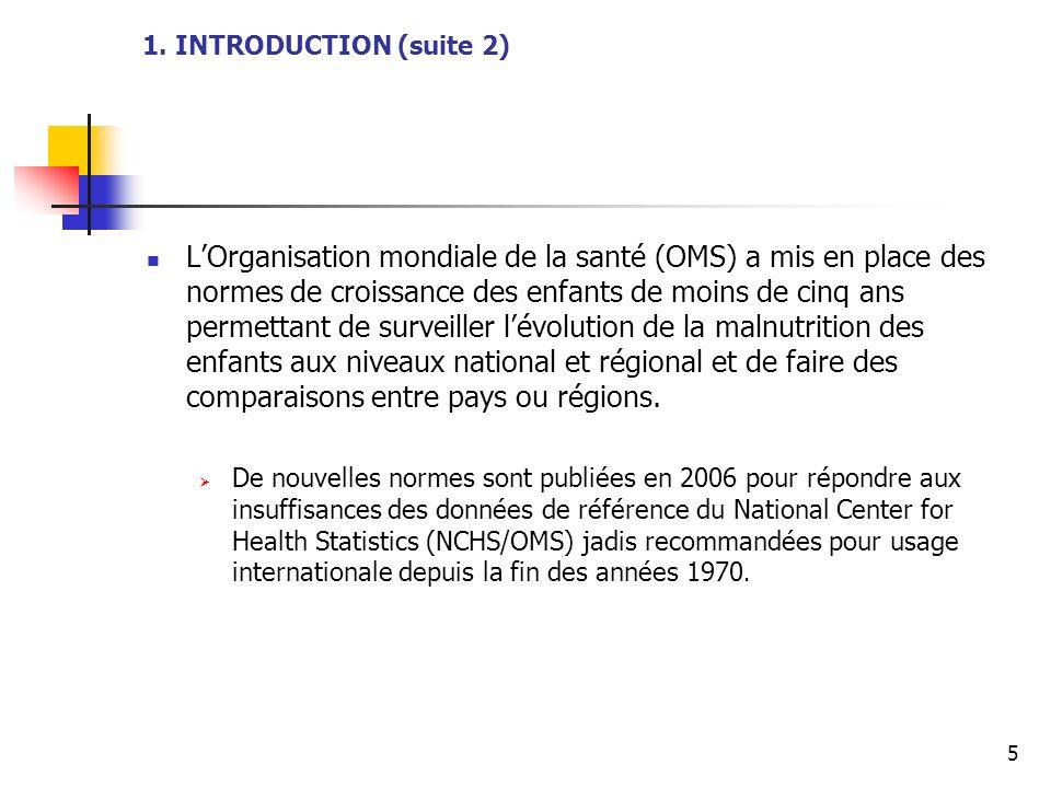 5 1. INTRODUCTION (suite 2) LOrganisation mondiale de la santé (OMS) a mis en place des normes de croissance des enfants de moins de cinq ans permetta