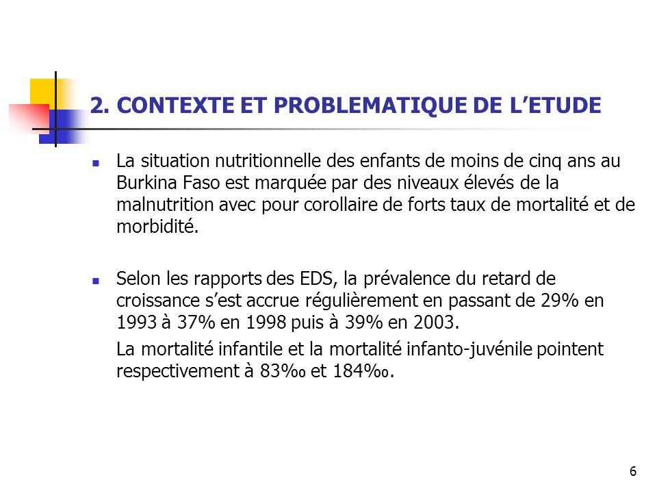 6 2. CONTEXTE ET PROBLEMATIQUE DE LETUDE La situation nutritionnelle des enfants de moins de cinq ans au Burkina Faso est marquée par des niveaux élev