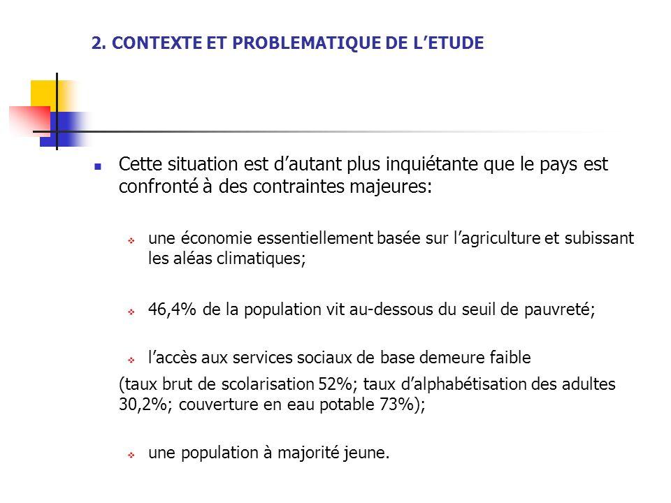 2. CONTEXTE ET PROBLEMATIQUE DE LETUDE Cette situation est dautant plus inquiétante que le pays est confronté à des contraintes majeures: une économie