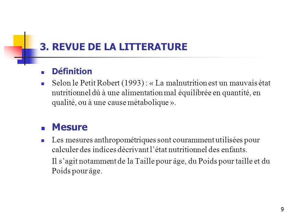 3. REVUE DE LA LITTERATURE Définition Selon le Petit Robert (1993) : « La malnutrition est un mauvais état nutritionnel dû à une alimentation mal équi