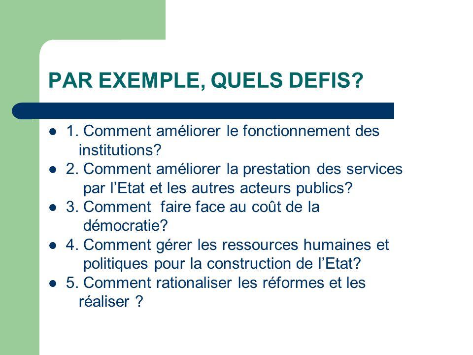 PAR EXEMPLE, QUELS DEFIS. 1. Comment améliorer le fonctionnement des institutions.
