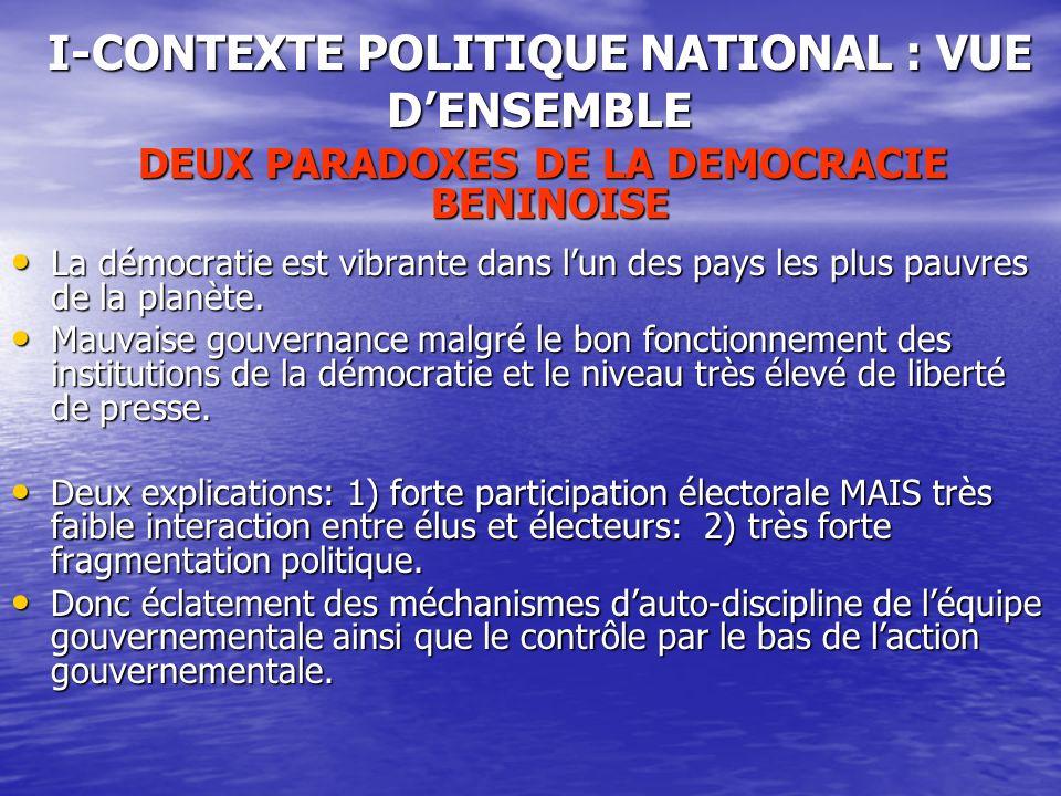 DEUX PARADOXES DE LA DEMOCRACIE BENINOISE DEUX PARADOXES DE LA DEMOCRACIE BENINOISE La démocratie est vibrante dans lun des pays les plus pauvres de la planète.