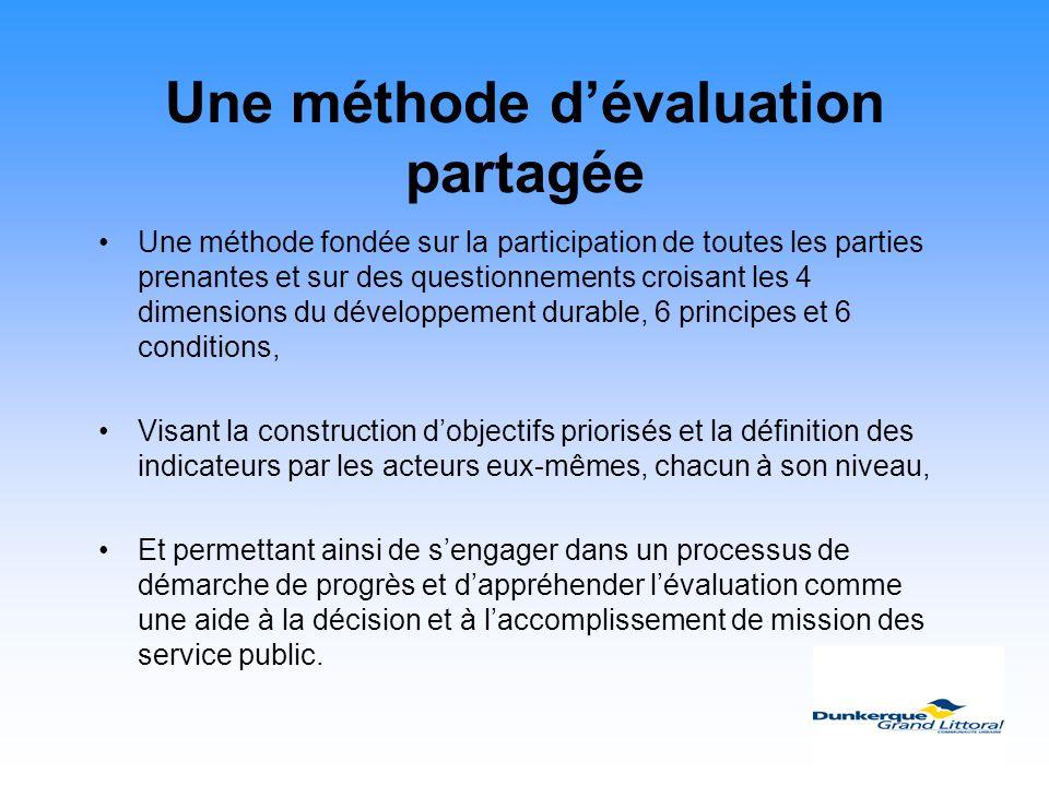 Une méthode dévaluation partagée Une méthode fondée sur la participation de toutes les parties prenantes et sur des questionnements croisant les 4 dim