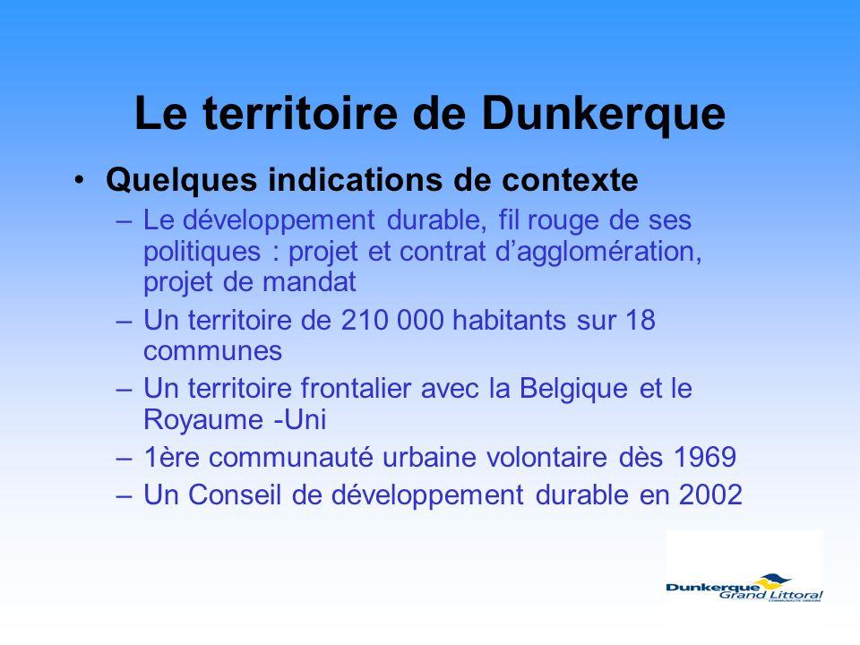 Le territoire de Dunkerque Quelques indications de contexte –Le développement durable, fil rouge de ses politiques : projet et contrat dagglomération,