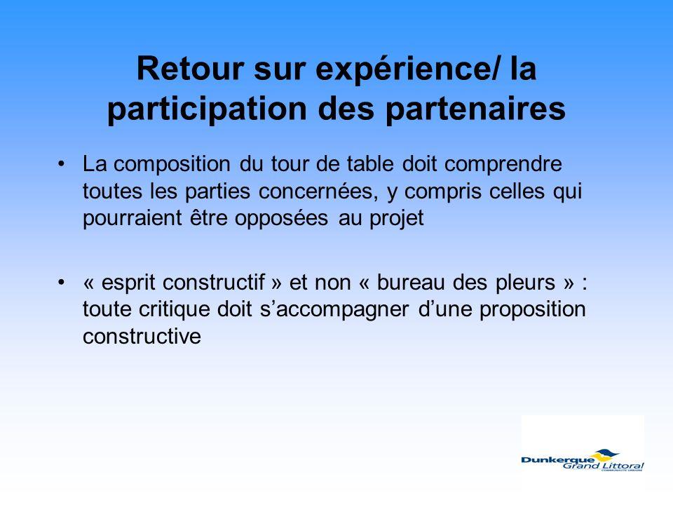 Retour sur expérience/ la participation des partenaires La composition du tour de table doit comprendre toutes les parties concernées, y compris celle