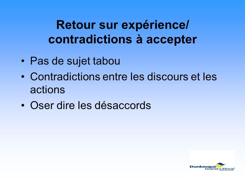 Retour sur expérience/ contradictions à accepter Pas de sujet tabou Contradictions entre les discours et les actions Oser dire les désaccords