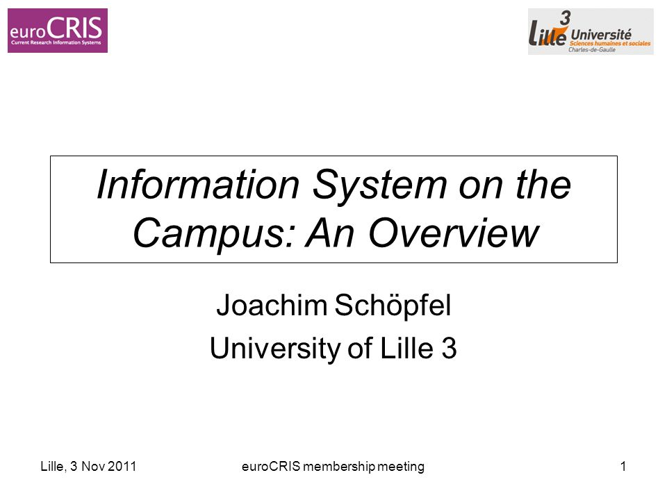 Lille, 3 Nov 2011euroCRIS membership meeting1 Information System on the Campus: An Overview Joachim Schöpfel University of Lille 3