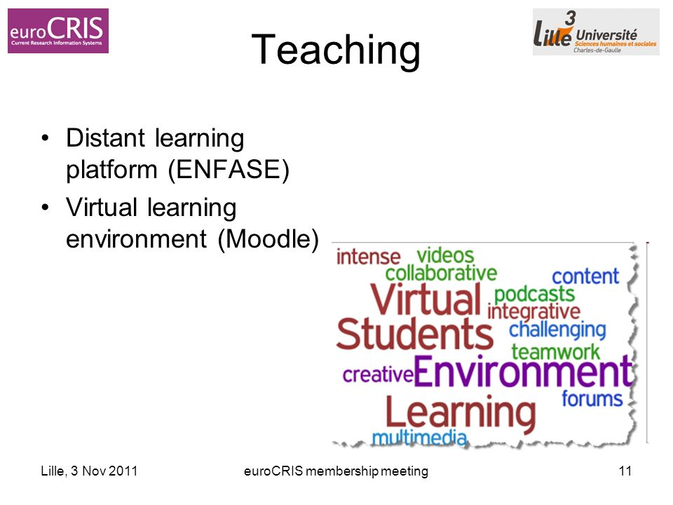 Lille, 3 Nov 2011euroCRIS membership meeting11 Teaching Distant learning platform (ENFASE) Virtual learning environment (Moodle)