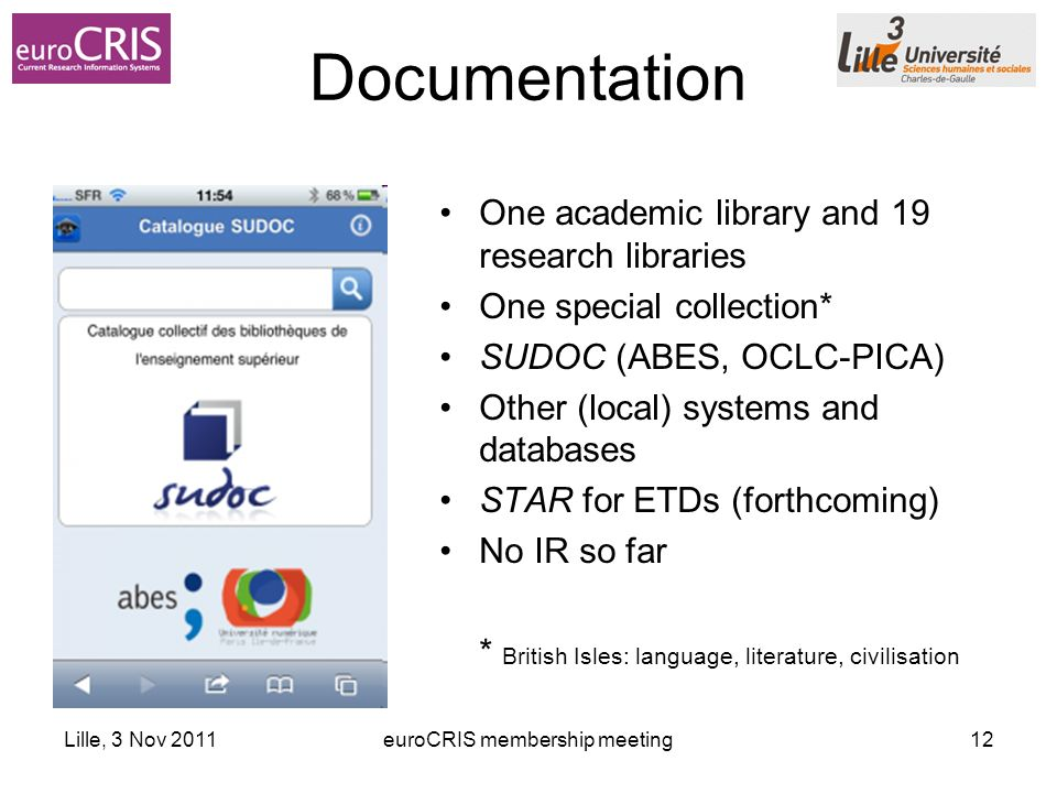 Lille, 3 Nov 2011euroCRIS membership meeting12 Documentation One academic library and 19 research libraries One special collection* SUDOC (ABES, OCLC-PICA) Other (local) systems and databases STAR for ETDs (forthcoming) No IR so far * British Isles: language, literature, civilisation