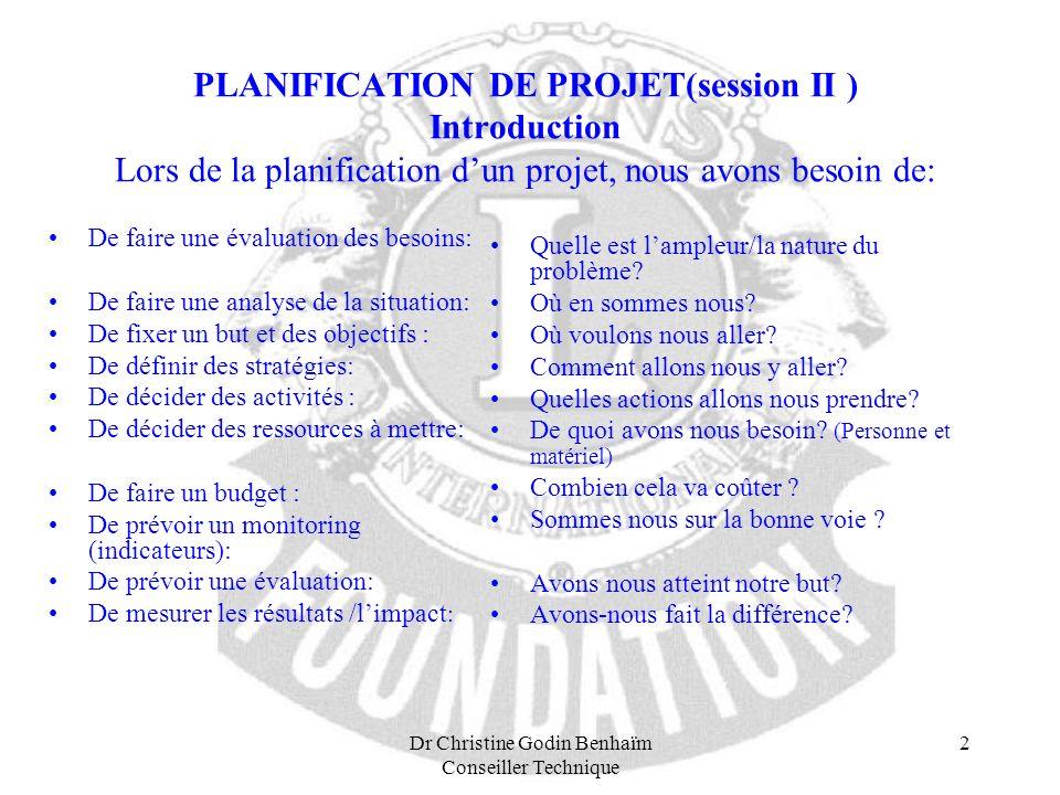 Dr Christine Godin Benhaïm Conseiller Technique 2 PLANIFICATION DE PROJET(session II ) Introduction Lors de la planification dun projet, nous avons be