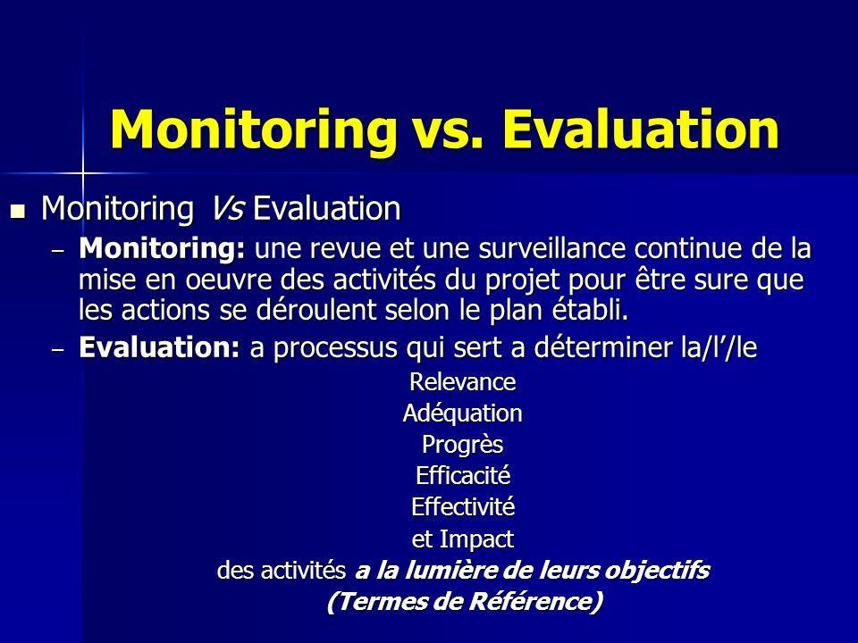Monitoring vs. Evaluation Monitoring Vs Evaluation Monitoring Vs Evaluation – Monitoring: revue et une surveillance continue de la mise en oeuvre des
