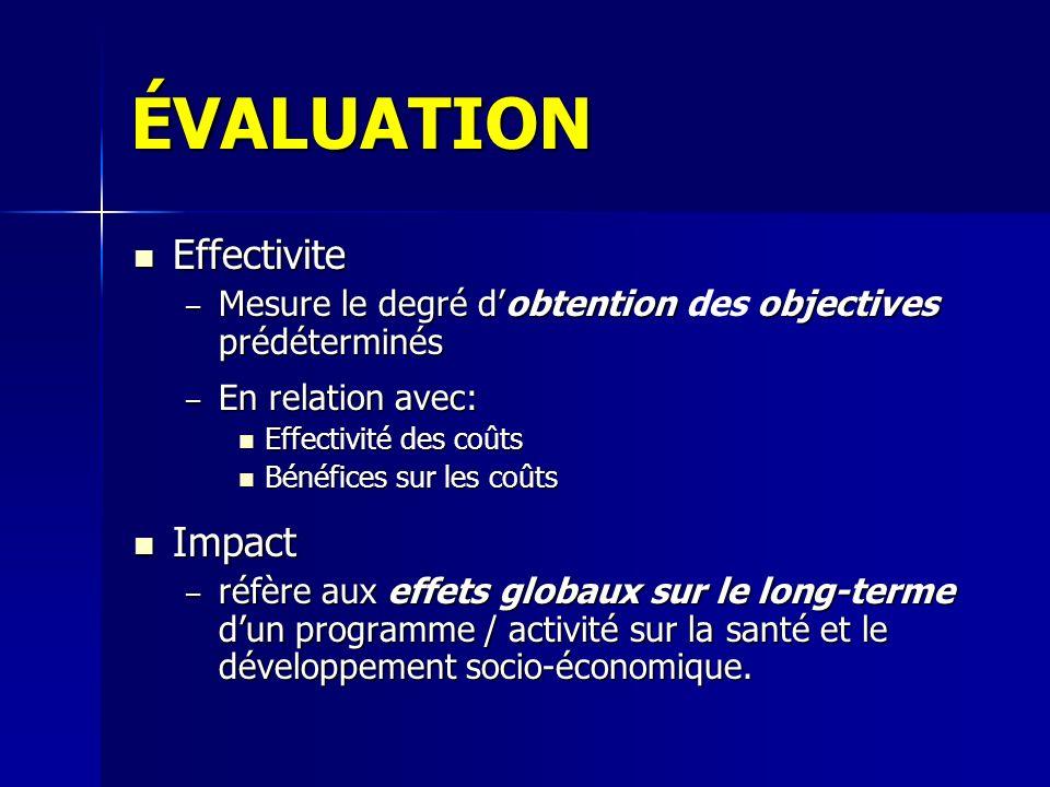 ÉVALUATION Effectivite Effectivite – Mesure le degré dobtentionobjectives prédéterminés – Mesure le degré dobtention des objectives prédéterminés – En