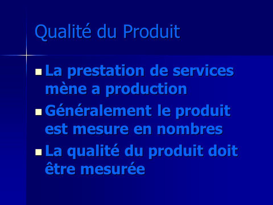 Qualité du Produit La prestation de services mène a production La prestation de services mène a production Généralement le produit est mesure en nombr