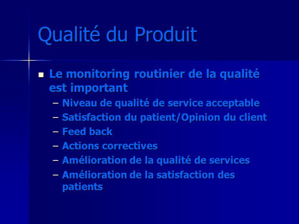 Qualité du Produit Le monitoring routinier de la qualité est important Le monitoring routinier de la qualité est important –Niveau de qualité de servi
