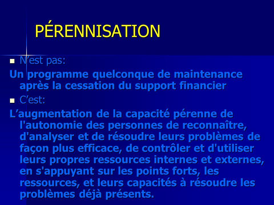 PÉRENNISATION Nest pas: Nest pas: Un programme quelconque de maintenance après la cessation du support financier Cest: Cest: Laugmentation de la capac