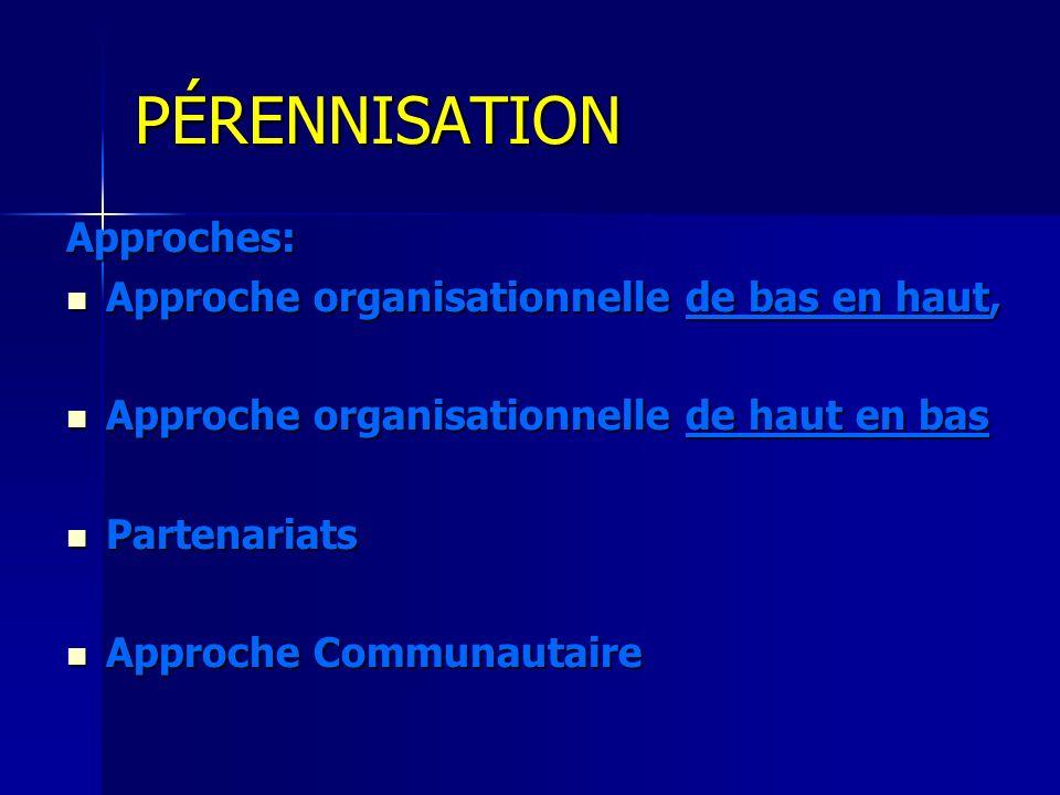 PÉRENNISATION Approches: Approche organisationnelle de bas en haut, Approche organisationnelle de bas en haut, Approche organisationnelle de haut en b