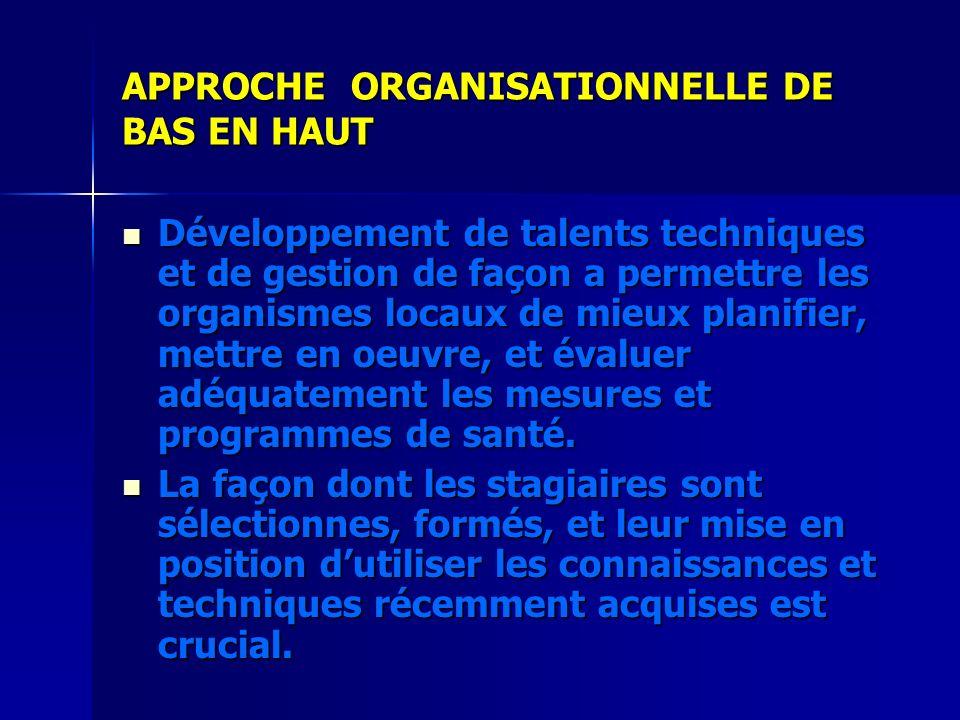 APPROCHE ORGANISATIONNELLE DE BAS EN HAUT Développement de talents techniques et de gestion de façon a permettre les organismes locaux de mieux planif