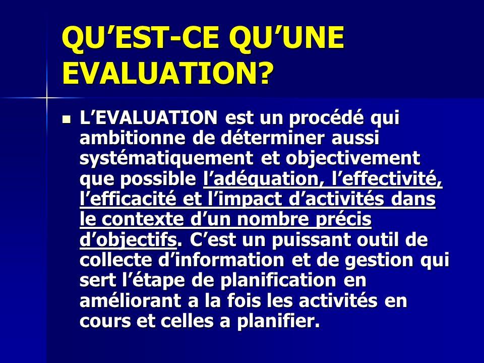 QUEST-CE QUUNE EVALUATION? LEVALUATION est un procédé qui ambitionne de déterminer aussi systématiquement et objectivement que possible ladéquation, l