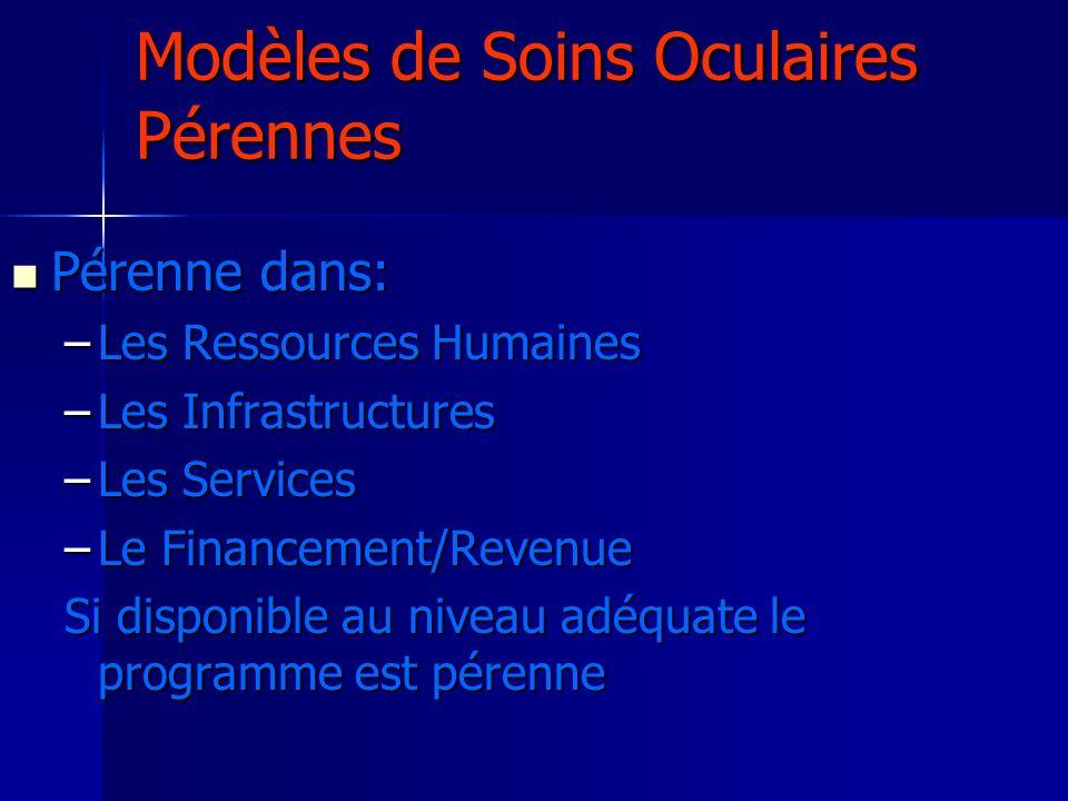 Modèles de Soins Oculaires Pérennes Pérenne dans: Pérenne dans: –Les Ressources Humaines –Les Infrastructures –Les Services –Le Financement/Revenue Si