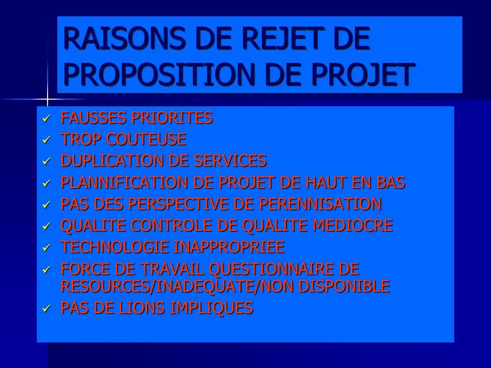 RAISONS DE REJET DE PROPOSITION DE PROJET FAUSSES PRIORITES FAUSSES PRIORITES TROP COUTEUSE TROP COUTEUSE DUPLICATION DE SERVICES DUPLICATION DE SERVI