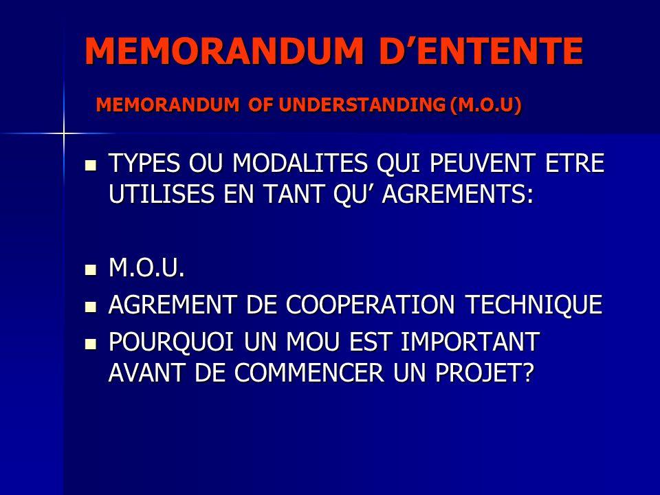 MEMORANDUM DENTENTE MEMORANDUM OF UNDERSTANDING (M.O.U) TYPES OU MODALITES QUI PEUVENT ETRE UTILISES EN TANT QU AGREMENTS: TYPES OU MODALITES QUI PEUV